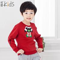 初语童装 冬装新款儿童卫衣休闲纯色加绒男童卫衣 T5405210111