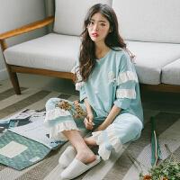 精致气质美!甜美公主日系の花边袖可爱韩版家居服少女睡衣套装夏 E108-双层花边袖蓝绿套装 (80-130斤)