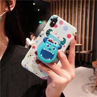 Disney/迪士尼iphonexs max手机壳单眼毛怪XS全包蓝光6splus硅胶保护套苹果7/ 6/6s 波点毛