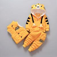 宝宝冬装套装男小童秋冬季三件套婴儿外出棉衣服