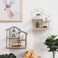 创意格子几何铁艺木板房子墙壁置物架免打孔卧室客厅简约装饰壁挂