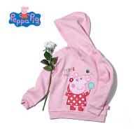 【3件3折】小猪佩奇正版童装女童秋装卡通印花套头长袖连帽卫衣女宝宝上衣