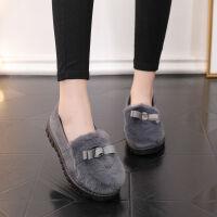 棉拖鞋秋冬季女棉鞋学生保暖加绒毛毛鞋低帮懒人豆豆鞋防滑一脚蹬