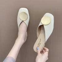 凉拖鞋女2019新款韩版粗跟中跟拖鞋女包头拖鞋女时尚拖鞋女外穿