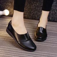 肯德基皮鞋工作鞋女士单鞋平底舒适女鞋黑色圆头平底妈妈鞋子