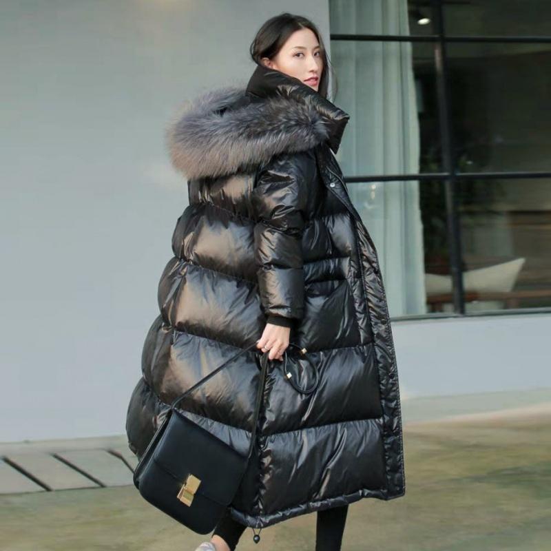 【真羽绒】时尚流行黑色羽绒服女中长款加厚过膝韩版宽松大码  XS 【建义85-110斤】