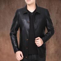 秋季新款青中年男士皮衣短款PU水洗皮外套秋装翻领皮夹克青年男装