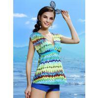 新款时尚性感钢托小胸聚拢遮肚修身复古游泳衣女士泳衣女分体平角裙式