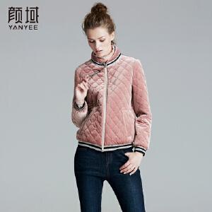 颜域品牌女装2017冬装新款时尚百搭丝绒长袖立领直筒格纹短款外套