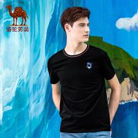 骆驼男装 夏季新款时尚简约棉质圆领青年商务休闲短袖T恤衫男