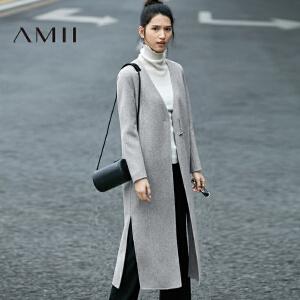 AMII[极简主义]冬纯色V领开襟高开衩单层羊毛呢外套11684678