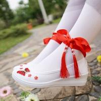 复古风改良版汉服鞋子女搭配古装学生白色平底坡跟刺绣花元素cos 大红色 坡跟星蝶