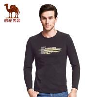 骆驼男装 2017春季新款男士时尚印花长袖T恤衫青年圆领修身t恤男
