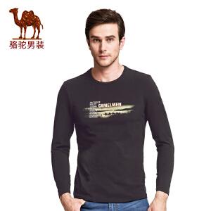 骆驼男装 新款男士时尚印花长袖T恤衫青年圆领修身t恤男