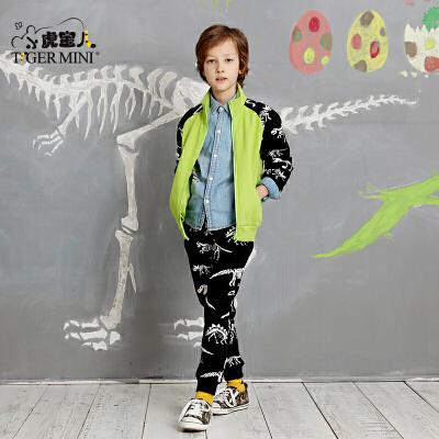 男童加绒加厚恐龙套装 儿童开衫两件套中大童休闲小虎宝儿童装潮加绒 恐龙印花 运动套装 弹力罗纹