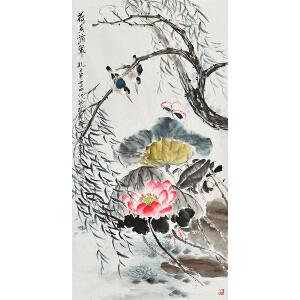 当代知名画家孔繁珍三尺整张花鸟画gh01189