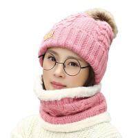 女秋冬毛季线帽套头帽围脖两用针织帽