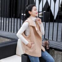 2018秋冬季新款韩版马甲皮毛一体羊羔毛绒外套休闲短款马夹背心女