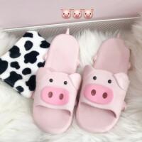 韩风ins少女粉色2019年猪年吉祥物猪猪拖鞋室内浴室拖鞋软底 猪猪拖鞋