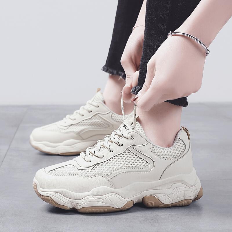 运动鞋女休闲鞋2019春季新款透气老爹鞋女韩版原宿学生小白鞋