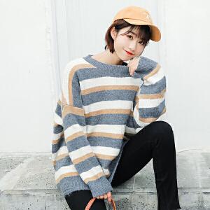 纤纯伊条纹圆领毛衣女套头2018秋冬新款落肩加厚针织衫