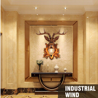 壁灯 现代简约时尚鹿角灯美式乡村创意客厅餐厅卧室酒吧别墅个性艺术欧式复古灯鹿头 创意灯具