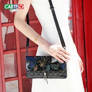 卡帝乐鳄鱼女士包包2018韩版新款女包手提包简约时尚单肩包斜挎小包包百搭潮