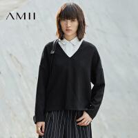 Amii[极简主义]秋女新品纯色羊毛呢V领宽松大码卫衣11683875