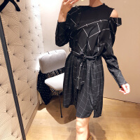 2018新款秋冬长袖显瘦连衣裙女假两件不规则格纹拼接系带衬衣裙 假两件