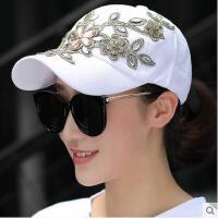 舌帽韩版休闲时尚烫钻珠子花朵棒球帽子女夏天鸭遮阳帽太阳帽潮帽可礼品卡支付