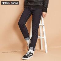美特斯邦威牛仔长裤男士2017冬季新款弹力修身小脚裤子青年韩版602067