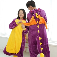 家居服套装秋冬可爱紫龙卡通动物情侣男女珊瑚法兰绒连体睡衣儿童
