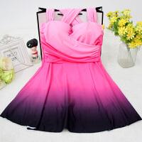 2018新款性感泡温泉泳衣女士加大码渐变连体裙式遮肚显瘦大胸钢托聚拢泳装 粉红色 粉色