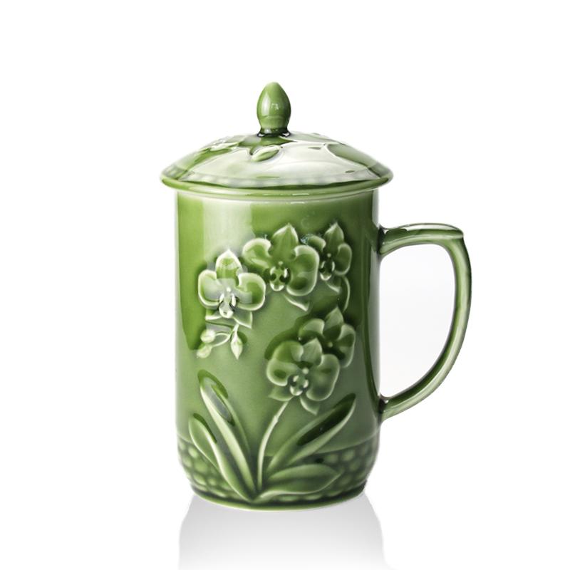 乾唐轩活瓷杯 蝴蝶兰花高杯盖杯 高档陶瓷水杯子办公杯商务礼品杯