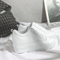 内增高小白鞋女百搭厚底新款显瘦休闲女鞋2019春季学生白鞋子 白色