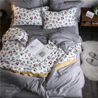 床上四件套全棉纯棉北欧格子1.8m床单床笠豹纹被罩学生宿舍三件套