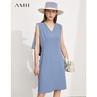Amii极简通勤风气质无袖连衣裙2021夏季新款V领修身裙子女背心裙