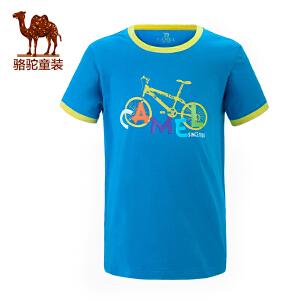 骆驼春夏男女儿童短袖T恤青少年圆领短袖透气体恤衫