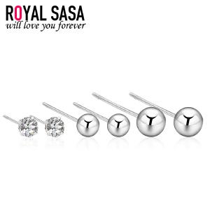 皇家莎莎小圆球耳钉套装925银韩国版气质简约耳坠耳环送女友礼物