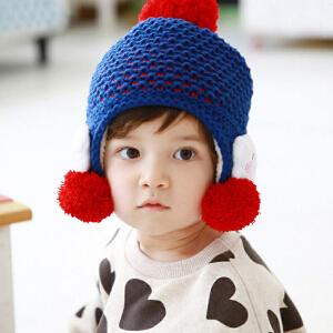 货到付款 Yinbeler小云朵宝宝毛线帽子婴儿帽子秋冬款加厚男女儿童套头帽护耳帽儿童帽加绒1-6岁