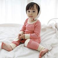 货到付款 Yinbeler秋冬季加绒加厚婴儿保暖内衣套装男女宝宝套头保暖衣0-1-2岁纯色不倒绒套装