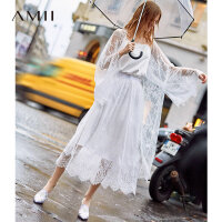 Amii极简很仙的法式蕾丝薄外套2019秋新款新落肩袖慵懒宽松开衫女