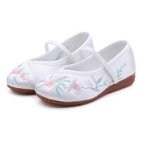 老北京儿童布鞋汉服唐装女童绣花鞋中国风古装古风透气小白鞋凉鞋