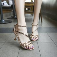 新款2019夏季凉鞋女韩版潮时尚铆钉高跟凉鞋细跟包跟舒适百搭露趾