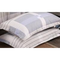 全棉枕套一对装纯棉条纹格子简约单人48*74枕芯套枕头套子 48cmX74cm