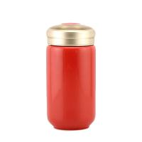 乾唐轩活瓷喝彩中直筒随身杯双层200ml 创意陶瓷水杯子带盖随手杯