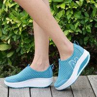 新款夏季套脚女士网鞋摇摇鞋女运动休闲鞋网面透气女鞋厚底松糕鞋 08蓝色