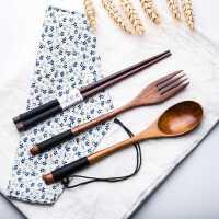 和风日式原木质餐具绕线缠线木头筷子勺子学生筷勺旅行三件套装