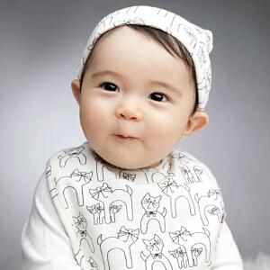 Yinbeler婴儿帽子0-3-6-12个月春秋围兜棉胎帽秋冬新生儿帽男女宝宝帽子小猫胎帽+口水巾