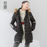 初语冬季趣味字母印花可拆卸连帽直身羽绒服8540922033C